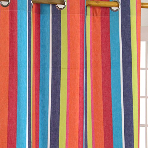 Homescapes Multi Stripes – Orange Blue Yellow – Eyelet Curtain Pair 137cm (54″) Wide x 228cm (90″) Drop 100% Cotton Ready Made Ring Top Striped Curtains