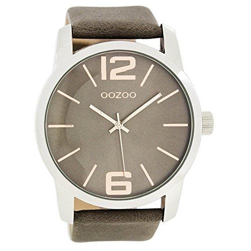 OOZOO C7413 Uhr Herrenuhr Lederarmband Metall 20m Analog grau