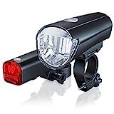 CSL-Computer Fahrradlicht Set StVZO Zugelassen | LED Fahrradlampe/Fahrradbeleuchtung Set inkl. Front- und Rückl