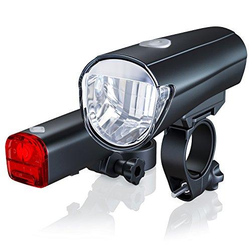 Fahrradlicht Set StVZO zugelassen | LED Fahrradlampe / Fahrradbeleuchtung Set inkl. Front- und Rückl CSL-Computer