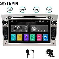 SWTNVIN Android 9 Auto Audio Stereo Kopfeinheit passt für Opel Vauxhall DVD Player Radio 7 Zoll HD Touchscreen GPS Navigation mit Bluetooth WiFi Lenkradsteuerung 2GB + 16GB (Silber)