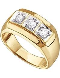 10 KT Or jaune pour homme Diamant rond 3 Mode Bague 1 2 carat au b768484bc667