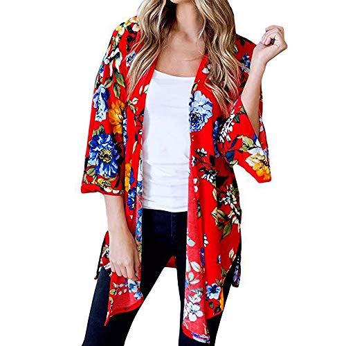 JMETRIC_Strandbluse 8669 Damen Bikini Blouse Strand Kimono Florale Top Cardigan Chiffon Shawl Beachwear Cover Up Oberteil (Weiß,L)