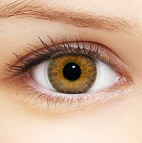 Linsenfinder Farbige Kontaktlinsen Braun '3Tones Hazel Brown' +Behälter für HELLE Augen ohne und mit Stärke braune Kontaktlinsen farbig