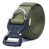 Tactical Belt for Men, Adjustable Nylon Waist Belt with Zinc Alloy Buckle, 1.5in Military Riggers Belt with Buckle (Army Green)