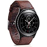 Gear S2 Classic Leather Band, Vintage Gear S2 Classic Band Genuine Leather Strap with Classic Stainless Steel...