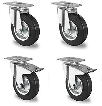 4 Stück Transportrollen lenkbar 100mm Gummibereifung Lenk/FS
