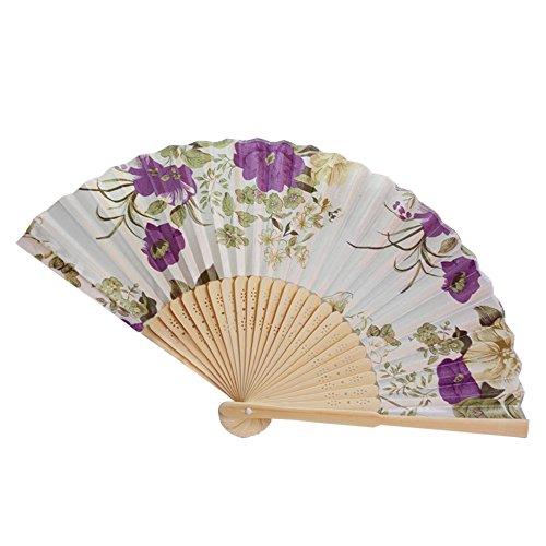 Andouy Retro Faltfächer/Handfächer/Papierfächer/Federfächer/Sandelholz Fan/Bambusfächer für Hochzeit, Party, Tanzen(21cm.I) (Kriegerin Kostüm Muster)