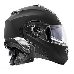 ATO Moto Montreal Schwarz matt Größe M 57-58cm Klapphelm mit Doppelvisier System und der neusten Sicherheitsnorm ECE 2205