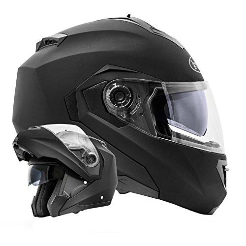 *ATO-Moto Montreal Schwarz matt Größe L 59-60cm Klapphelm mit Doppelvisier System und der neusten Sicherheitsnorm ECE 2205*