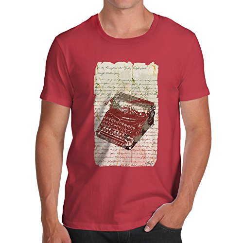 Book Print Vintage Typewriter Red T-Shirt