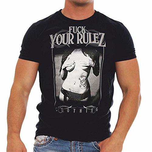 Männer und Herren T-Shirt Fuck Your Rulez workout Schwarz