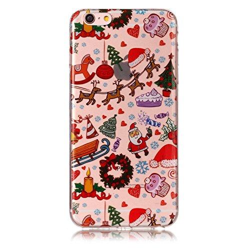 Custodia per Apple iPhone 6 / 6S , IJIA Trasparente Adorabile Babbo Natale TPU Silicone Morbido Protettivo Shell Coperchio Caso Bumper Protettiva Case Cover per Apple iPhone 6 / 6S (4.7) YH84