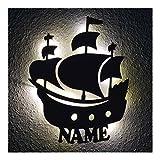 Led Design Schiff Nachtlicht Piratenschiff Lampe, Geschenkidee mit Namen