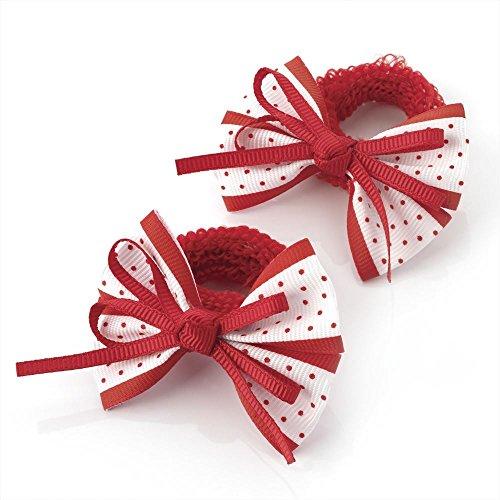 2 x 5.5cm Red & White Polka Dot Design Bow Hair Ponio Elastics Bobbles Back to School