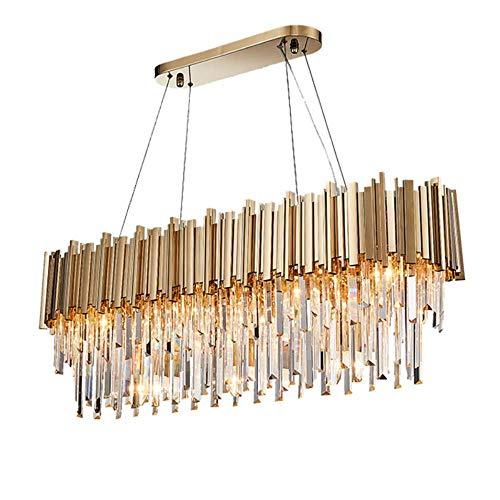 Moderne Goldkristall Metall Leuchter-Leuchte-Anhänger-hängende Lampe für Wohnzimmer-Esszimmer Restaurant Dekoration, Gold, Platz L110xW30xH38c, warmes Weiß # 141 -