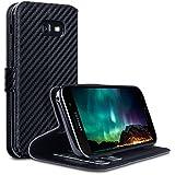 Galaxy A5 2017 Hülle, Terrapin Leder Tasche Case Hülle im Bookstyle mit Standfunktion Kartenfächer für Samsung Galaxy A5 2017 Hülle Schwarz Karbonfaser Dessin