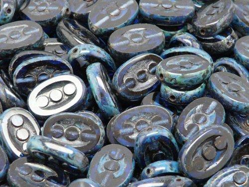 10pcs Ceco Perle di vetro, Tabella Cut, 3-dot Ovale 14x9 mm Deep Blue Picasso