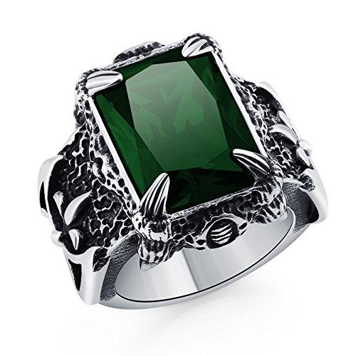 Anillo retro del garra del dragón con el anillo cristalino punky del motorista del acero inoxidable de la banda gótica para hombre del cristal verde
