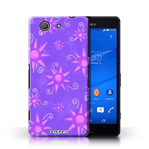 Kobalt® Imprimé Etui / Coque pour Sony Xperia Z3 Compact / Rose/Blanc conception / Série Motif Soleil Violet/Rose