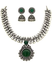 Sasitrends Oxidized German Silver Necklace With Jumki For Women And Girls