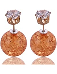 Hot And Bold Round Double Sided Cz Diamond Geometric Stud Earring. Daily/Party Wear Fashion Jewellery For Women...