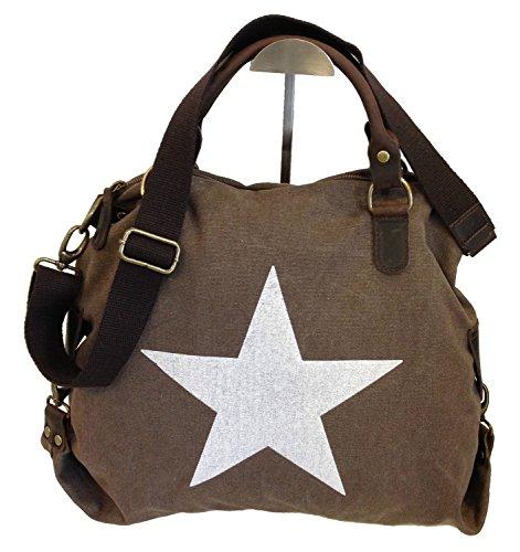 fashion&DU STERN STAR CANVAS Hand Tasche Schultertasche Shopper mit Leder-Anteil ITALY bag Braun