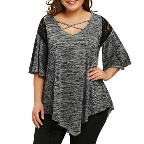 VJGOAL Damen Bluse, Dame Plus Size Fashion Unregelmäßige Top DREI Viertel Sleeve Shirt Hohe Niedrige Hem Tops Bluse (52, T-Spitze-grau) -