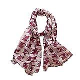 Zolimx Schals für Damen, Mode Frauen-Bowknot-Katzen-Druck-Muster-langer Schal-warmer Verpackungs-Schal (Rot)