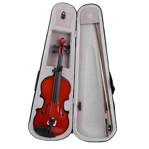 4/4 Full Size Akustische Violine/Geige, Massivholz Natur Lack Violine Anfänger Kit mit Hard Case, Schulterstütze, Bogen, Rosin für Starter Studenten Erwachsene Kinder