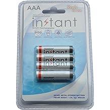PowerBase Instant Pilas AAA Recargables Ni-MH AAA 1000 Ciclos, 800 mAh, 4 Unidades, Color Blanco