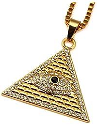 """Gudeke diamantes de los hombres chapados en oro Ojo de Horus Egipto Pirámide collar 23.6"""" Longitud de cadena"""