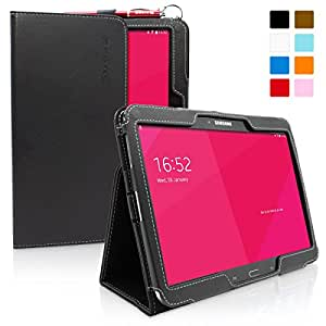 Galaxy Tab 3 10.1 Case, Snugg - Black Leather Smart Case Cover [Lifetime Guarantee] Samsung Galaxy Tab 3 10.1 Protective Flip Stand Cover with Auto Wake / Sleep