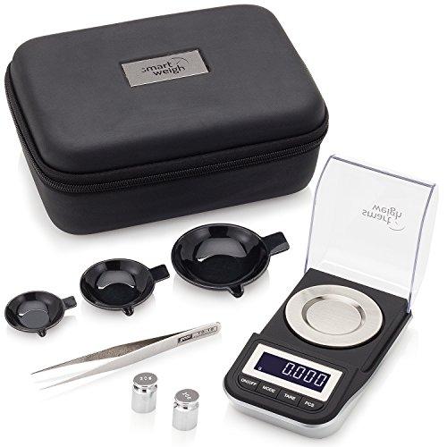 Smart Weigh Bilancia Digitale di Precisione al Milligrammo con Custodia, Pinzette, Pesi di Calibrazione e Tre Ciotole per la Pesatura, 50g x 0,001g