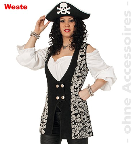 Weste Kostüm Piraten - Damen-Kostüm PIRATEN-WESTE SKULL Gr. 36 40 46