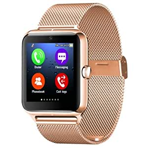 Videocon Challanger V40HD GT350 COMPATIBLE Z50 Smart Watch Phone Bluetooth GSM NFC G-sensor Camera 1 SIM Card Pedometer Sedentary Reminder Call SMS Sync Compatible with all Andriod Iphone Samsung Nokia lava Lenovo Moto Redmi Acer LG all andriod phones by vell-tech