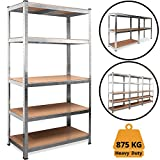 Deuba Heavy Duty Industrial Shelving Unit 5 Tier Garage Metal Racking Galvanized Storage Shelves Steel MDF Boltless | 875Kg Capacity | CONVERTS TO WORKBENCH | 180x90x40cm
