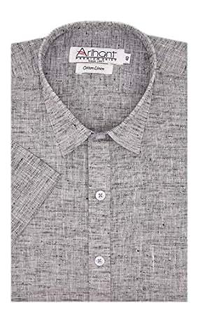 Arihant Men's Cotton Linen Formal Shirt (AR739827_Grey2_38)