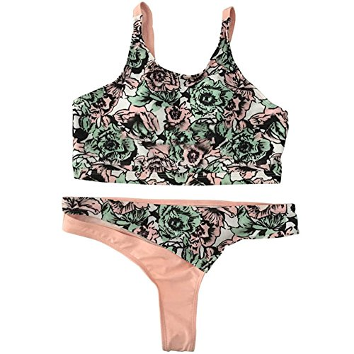 FeelinGirl Retro Damen Bandeau Bikini High Waist Push Up Set Druck S Orange -