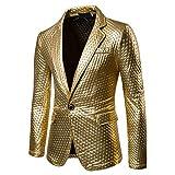 Herren Gentleman Mode Blazer Slim Fit Lange Coat Jacket Festlich Jacke Herrenmode Mantel Party Dance Nachtclub Gold Blazer Jacke (Color : Gold, Size : Chest:41.7