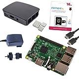 Melopero Raspberry Pi 3 Official Starter Kit Black con Alimentatore Ufficiale, Case Ufficiale, Cavo HDMI, Dissipatori e MicroSD Ufficiale 16GB con NOOBS