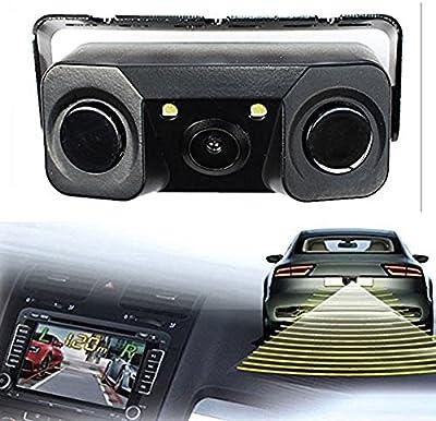 Dan velocidad impermeable Super rígida visión nocturna cámara Monitor con 2LED Coche de visión trasera cámara de retroceso + 2Sensor de aparcamiento