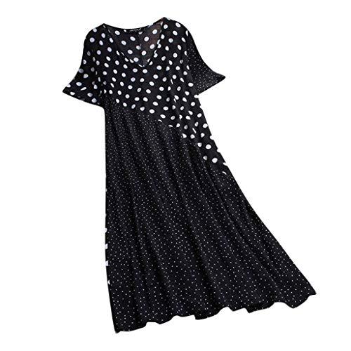 LOPILY Sommerkleid Damen Gepunktes Kleid Swing Kleid Lässiges Farbe Speißen Strandkleid V-Ausschnitt Knielang Kleid für Freizeit Kleid Schwarz Weiß Lose Luftiges Kleid (Schwarz, EU-46/CN-5XL)