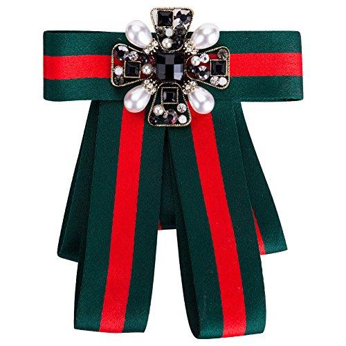 Preisvergleich Produktbild NiceButy Brosche für Frauen,  hochwertig,  Kristall,  Perlen,  Bogen,  Krawatten,  Schleife,  für Abendveranstaltungen,  Hochzeit,  Schleife,  Schmetterling,  Weihnachten