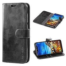 Mulbess Handyhülle für Xiaomi Pocophone F1 Hülle, Leder Flip Case Schutzhülle für Xiaomi Pocophone F1 Tasche, Schwarz