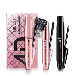 Qianren 4D Black Eyes Mascara + Eyelash Fiber + Eyelash Growth Liquid, Eyes Mascara Gift Kit, Waterproof Curling Thick…