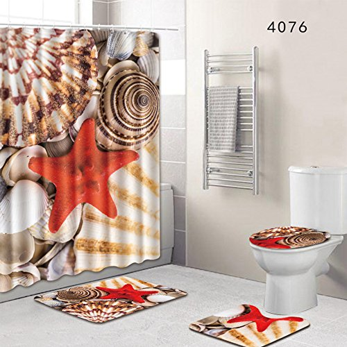 Tookie 4-Teiliges Duschvorhang-Set Badezimmer Anti-Rutsch-WC-Vorleger + Deckel WC-Abdeckung + Badematte + Duschvorhang mit 12 Haken, 8 Arten zur Auswahl, 45 * 75cm 4076, Free Size