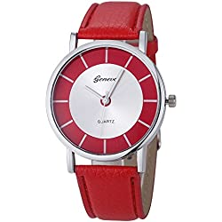 FEITONG Fashion Retro Dial Leather Analog Quartz Wrist Watch Red