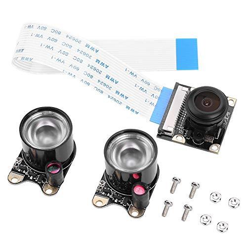 Richer-R Raspberry Pi Kamera Modul, HD 1080p Camera Module 5MP OV5647 Sensor Fisheye Weitwinkel Video Kamera,1/4 Zoll CCD Nachtsicht Kameramodul für Alle Raspberry Pi Modelle Fisheye-video