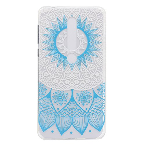 HopMore Nokia 6 (2018) Hülle Silikon Transparent Durchsichtig Hüllen Clear Muster Design Bumper Ultra Slim Dünn Gel TPU Motiv Handyhülle Kawaii One Piece Cover Case Nokia 6 (2018) - Grünes Mandala
